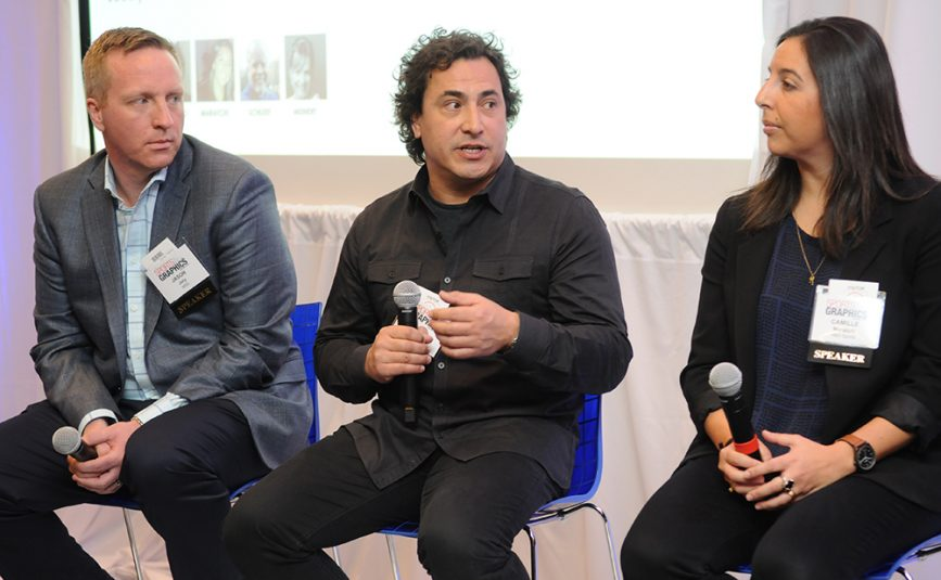 The Opening State of the Arts panel included (from left) Jason Joly, MSG Network, Director of Graphics; JP LoMonaco, CBS Sports, Senior Art Director; Camille Maratchi, HBO Sports, Associate Creative Director