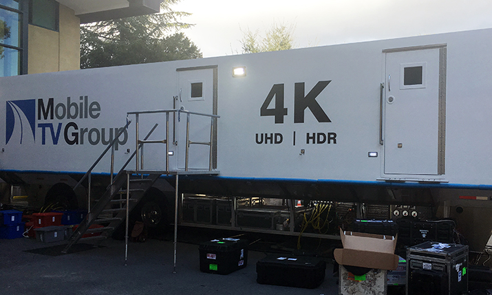 Mobile TV Group's 39 Flex truck is being used for Fox Sports and DirecTV's 4K production in Stanford, CA, tonight.