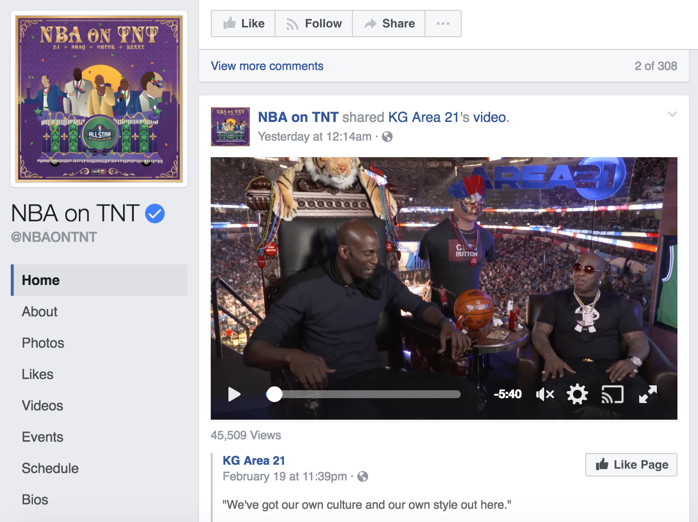 Turner Sports created a small studio area called Area 21 that was a home to some live social video content. Kevin Garnett hosted a Facebook Live from the location during the Slam Dunk Contest. The show was meant to serve as a second-screen complement to the linear television production.