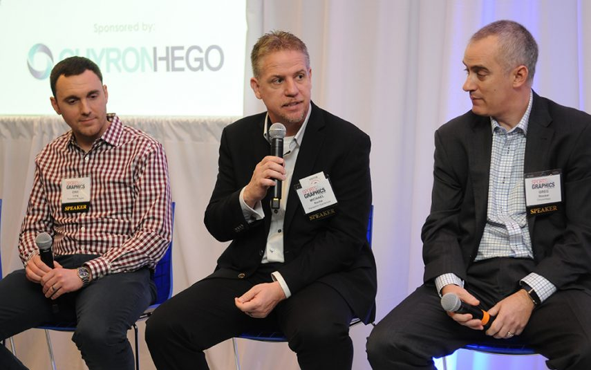 From left: Oilers Entertainment Group's Andrew Lalonde, Philadelphia Eagles' Eric Long, and Panasonic Xperiences' Michael Rocha