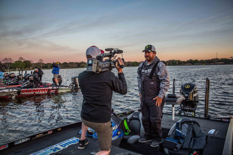 With JVC's integrated streaming technology, Digital P Media is able to send camera operators out with fisherman during the FLW Tour to get live footage of bass fishing tournaments. Courtesy of FLW/Photo by Kyle Wood