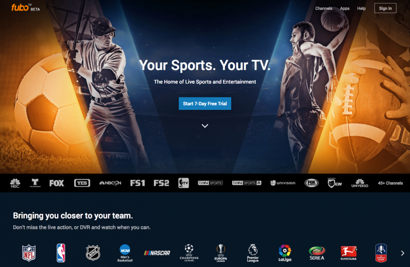 Priced at $35 a month, FuboTV offers mainstream cable channels in addition to sports.