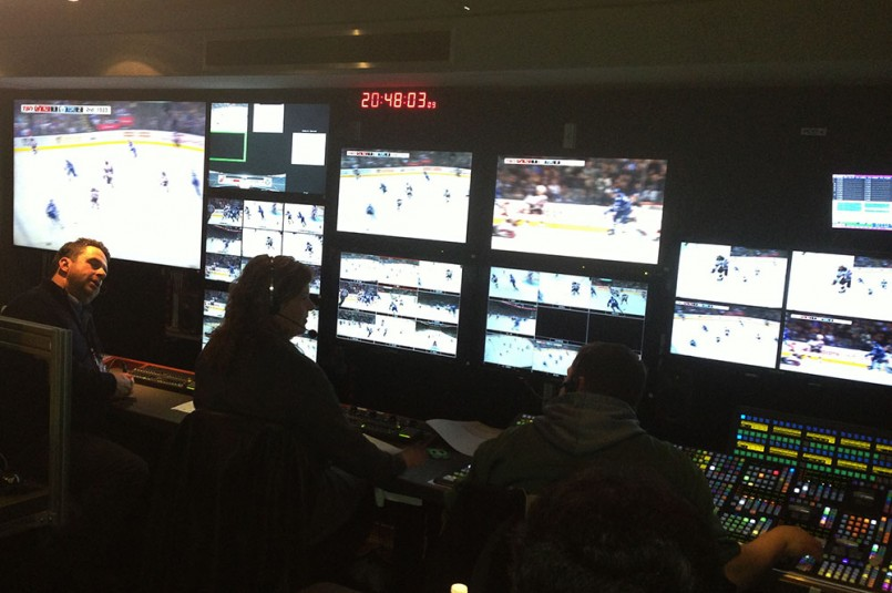TSN's NHL 4K rehearsal inside Dome's Unite 4K truck at the Air Canada Centre on Dec. 8 during the Maple Leafs-Devils game