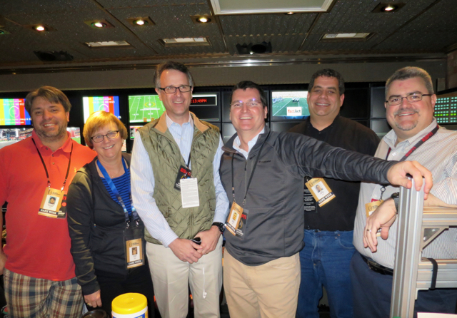 (left-to-right): Part of the ESPN Megacast Team that will help deliver 14 channels of CFP Championship content to viewers on January 11: Christoper Damian; Patricia Lowry; Ed Placey; Patrick Donaher; Seth Madway ; and Matthew Sandulli