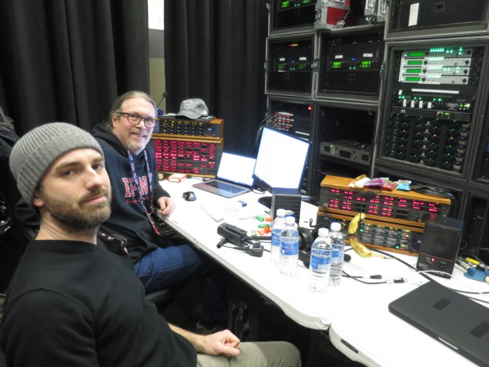 Firehouse Productions' Vinny Siniscal (left) and Gaff Michael helped oversee a new, unified communications network at the NBA All-Star Game in Toronto.