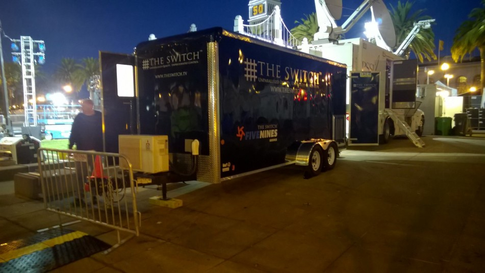 A trailer from The Switch is helping broadcasters stay connected at Super Bowl City in San Francisco.