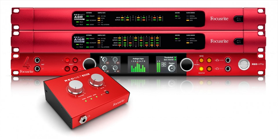 A selection of Focusrite's new RedNet audio-networking products