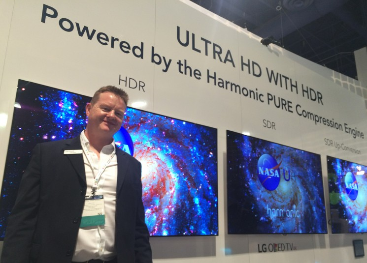 Harmonic's Ian Trow at the company's demo of HDR/SDR/upconverted HDR