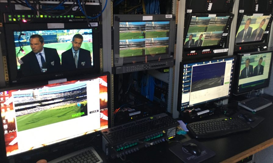 Inside one of two Sportvision vans on-site in San Diego