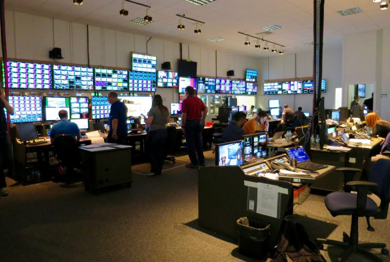 The NBC Olympics Broadcast Operations Center is a beehive of activity all day long.