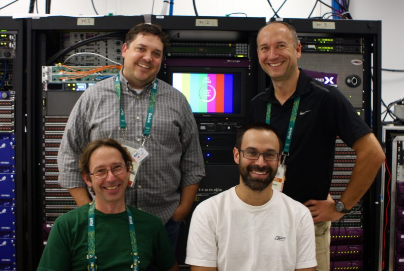 (Standing l-to-r) CBC's Rob Bunn, Eric Milotzki and (seated l-to-r) Sylvain Archambault and Mathieu Rochon are making sure Canadians get their fill of Olympic action.