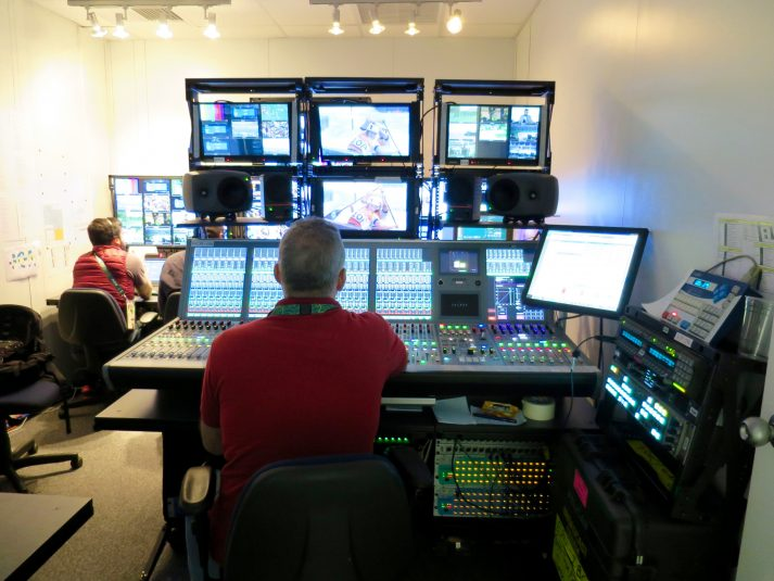 ESPN Brazil's control room includes a Calrec audio console and Grass Valley Karrera production switcher.