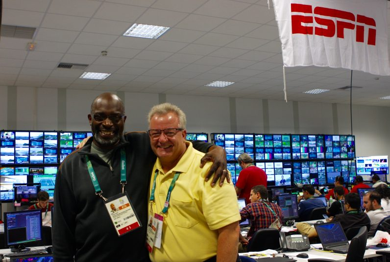 ESPN's Claude Phipps (left) and Henry Rousseau inside ESPN's content production area inside the Rio Olympics IBC.