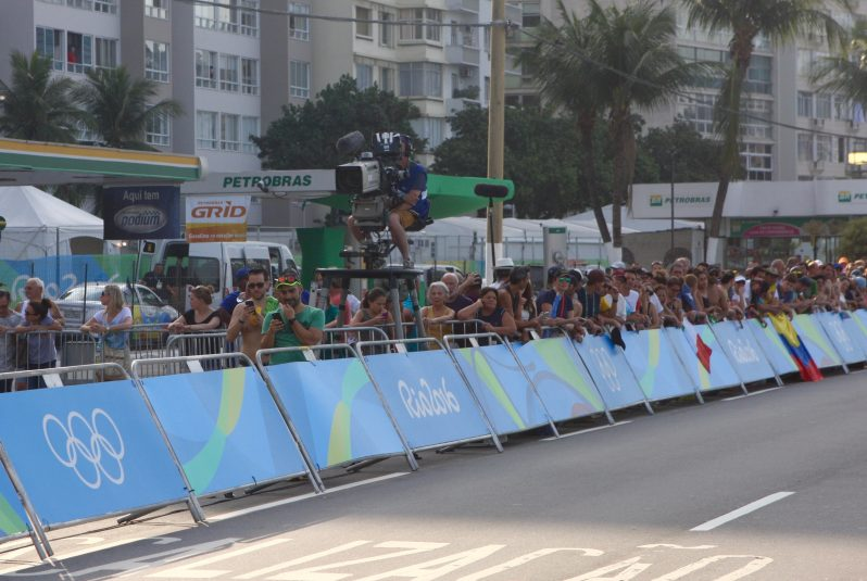 One of the hard cameras near the cycling road race finish line.