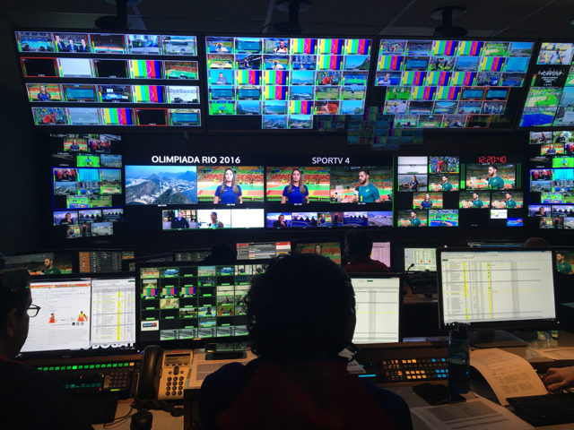 Globosat's SporTV control room is only a few miles away from the Olympics IBC.