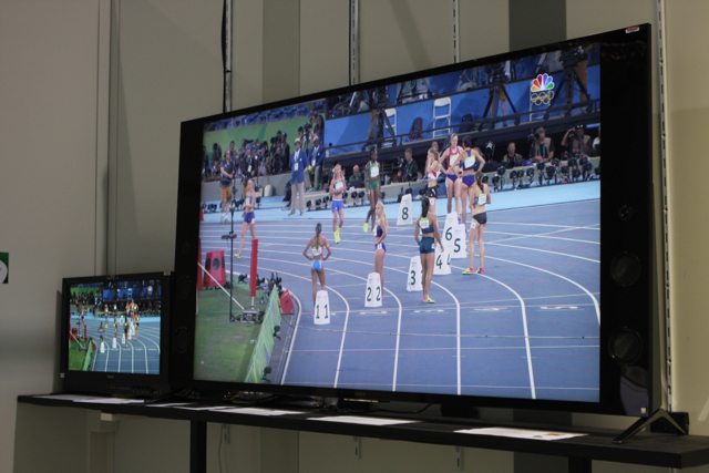NBC Olympics set up an HDR viewing area that ran different demos (the one here shows how SDR material can be upconverted to HDR) in order to help Olympic staffers and guests understand concepts around HDR.