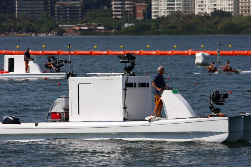 The camera on this boat is tied to an on-board EVS system that is clipping high-speed shots and then transporting them to shore via RF.