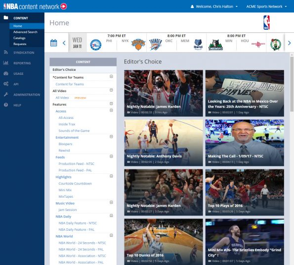 The NBA Content Network portal allows league partners to access content they have rights to and preview other content for purchase.