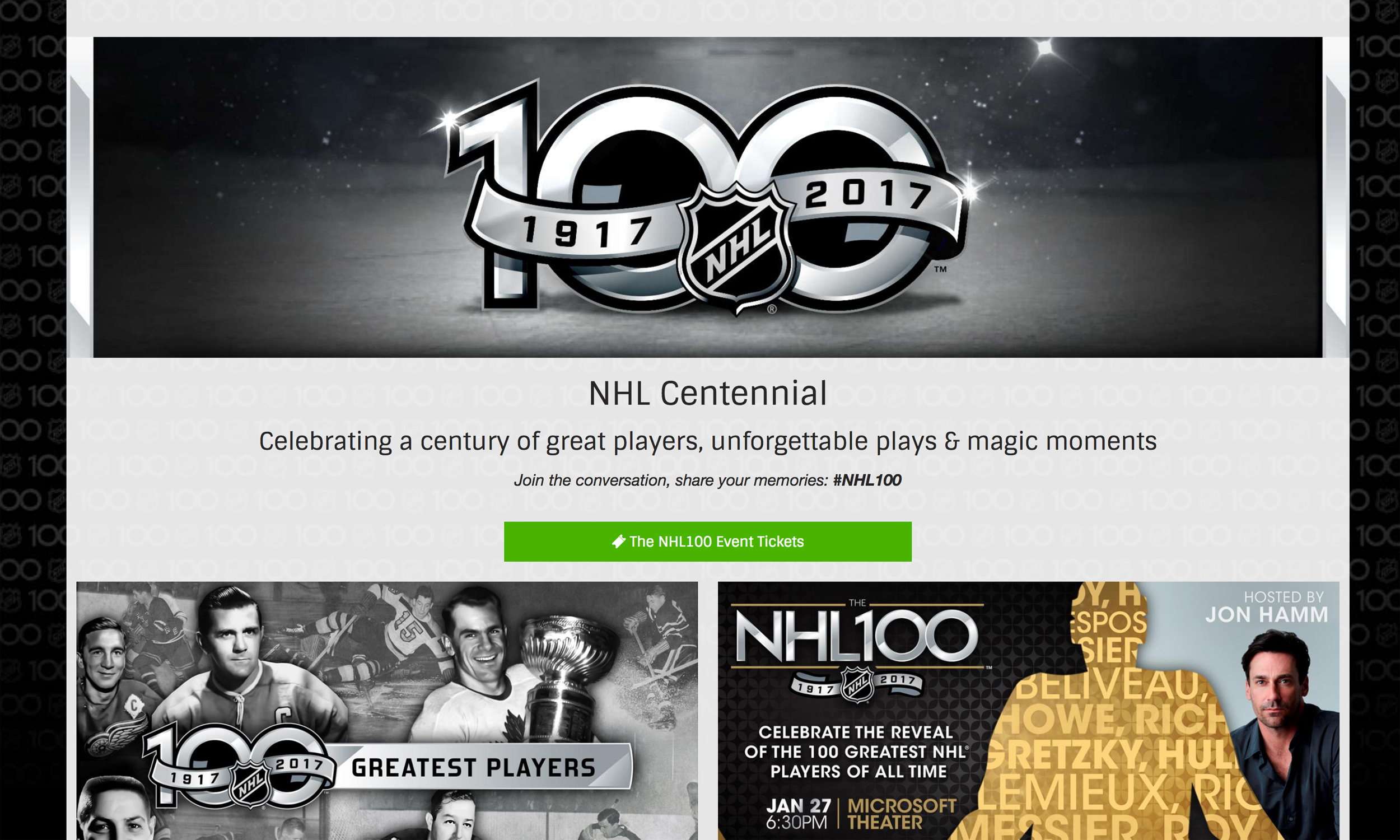 171b93de4 NHL Gathers Rare Videos for 100th-Anniversary Website