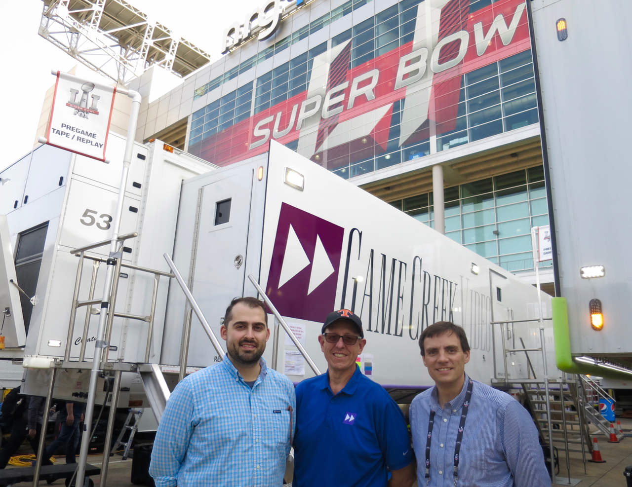 Game Creek's Keith Martin, Mike Copeland, and Jason Taubman on site at Super Bowl LI