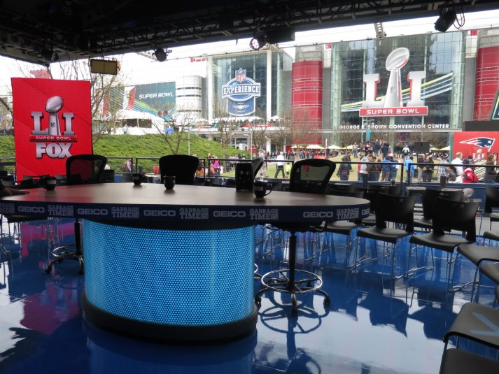 Inside the Fox Sports alternate set at Discovery Green Park