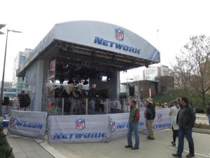 The NFL Network has a dual set outside of the convention center.