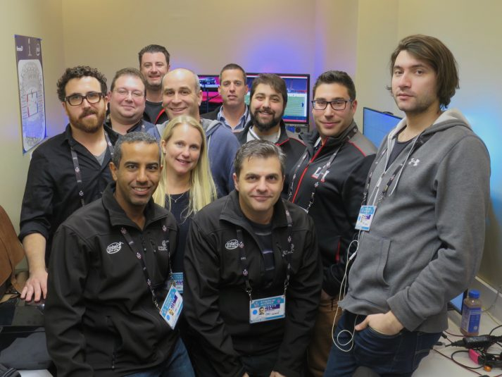 The Replay Technologies production team at Super Bowl LI: (from left) front row: Amitai Sharon, Beni Menahem, Ilya Grinshpoun; second row: Diego Prilusky, Christi Stahl, Renan Schilman; third row: Tal Gamberg, Scott Katz, Vitto Zaidman; back row: John Battaglia, Yizhar Feldman