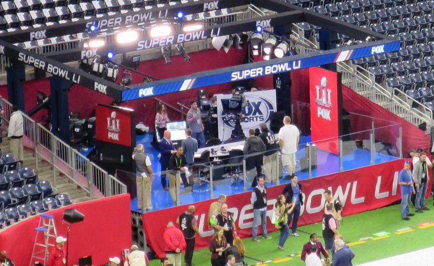 The Fox Sports pre-game set is nestled into the corner of the stadium behind the Patriots end zone.