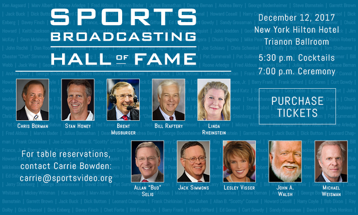 Sports Broadcasting Hall of Fame Announces Inductee Class of 2017