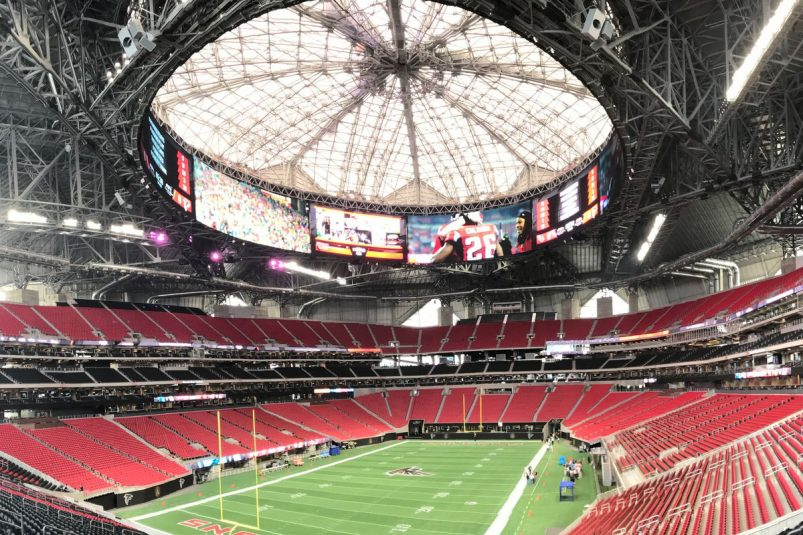 Mercedes benz stadium gets high tech sound with a mixed for Address of mercedes benz stadium
