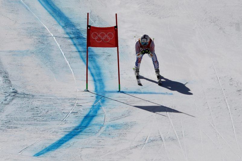 Lindsey Vonn at the last gate of Ladies' Super G.