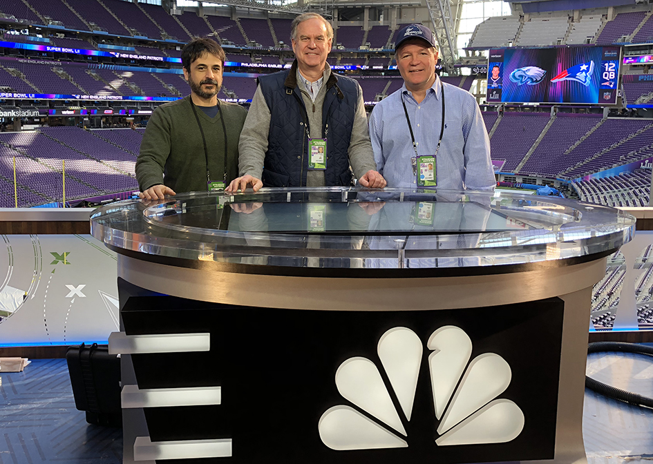 From Right To Left Nbc Sports Tom Popple Ken Goss And Craig Bernstein At The Coach S Clicker Set Inside Stadium